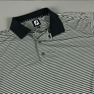 FootJoy Men's Polo Shirt Size Large Tan Striped